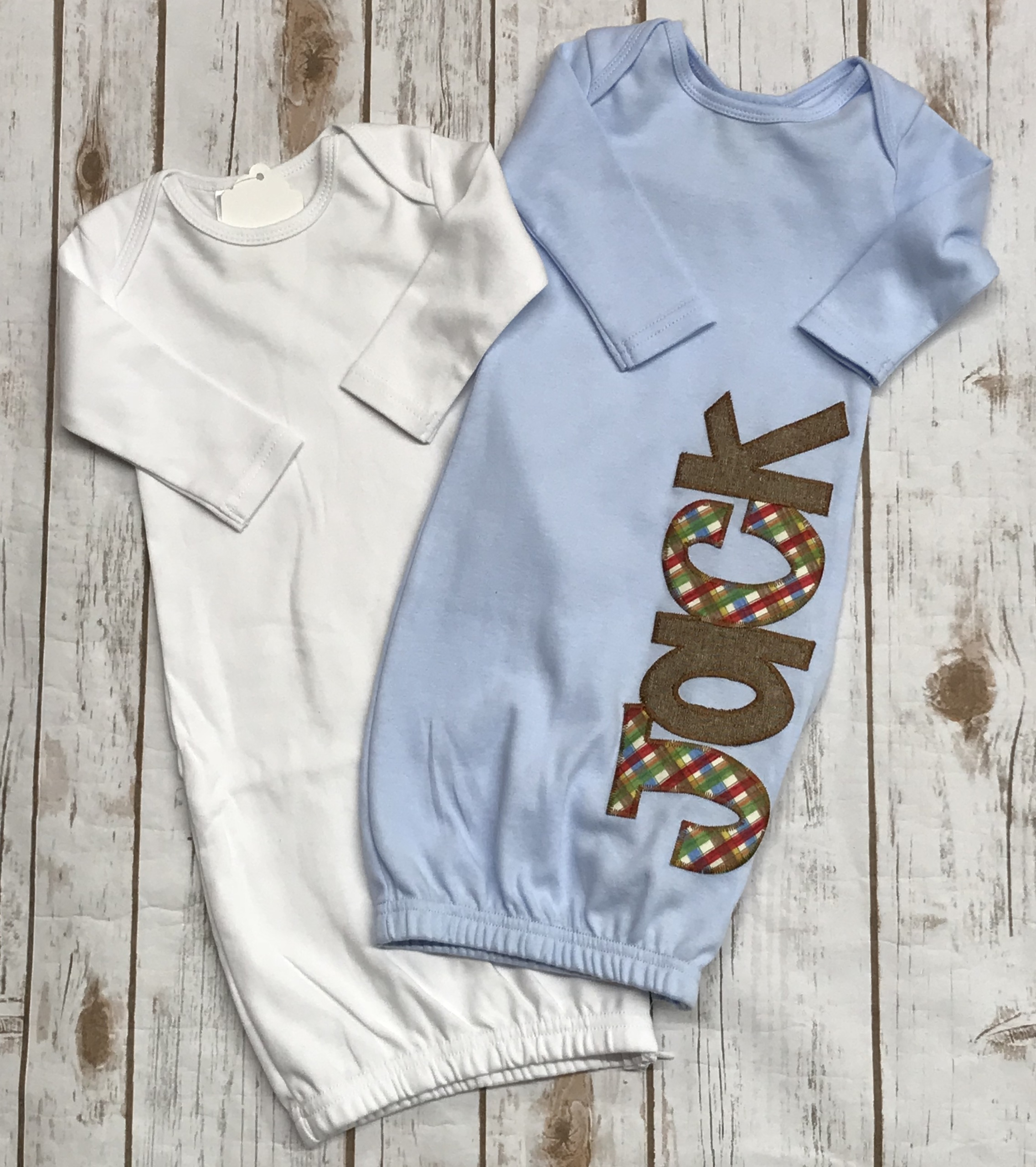Boys Appliqued Side Zip Baby Gown